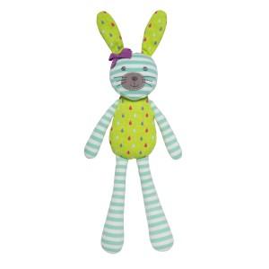 Organic Farm Bunny - Turqoise Stripe & Green Print