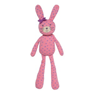 Organic Farm Bunny - Pink With Purple Star Print