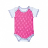 farm girl onesie - pink polka dots with white