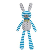 Organic Farm Bunny - Blue Stripe & White Polka Dot