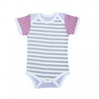 farm girl onesie - gray stripes & purple polka dots