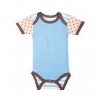 farm boy onesie - solid blue with red dots