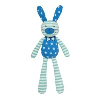 Organic Farm Bunny - Turquoise Stripe & Blue With White Star Print